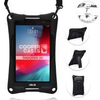 Cooper Trooper 2K Rugged Case for 7 inch Tablet   Tough Bumper Protective Drop Shock Proof Kids Holder Carrying Cover Bag, Stand, Hand Strap (Black)