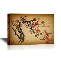 wall26 - Chinese Culture Canvas Wall Art - Chinese Painting of Plum Blossom - Gallery Wrap Modern Home Decor   Ready to Hang - 32x48 inches