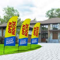 QSUM Open House Swooper Flag and Pole Kit,Real Estate Signs Advertising Feather Flag for House Agent Sale (Yellow)