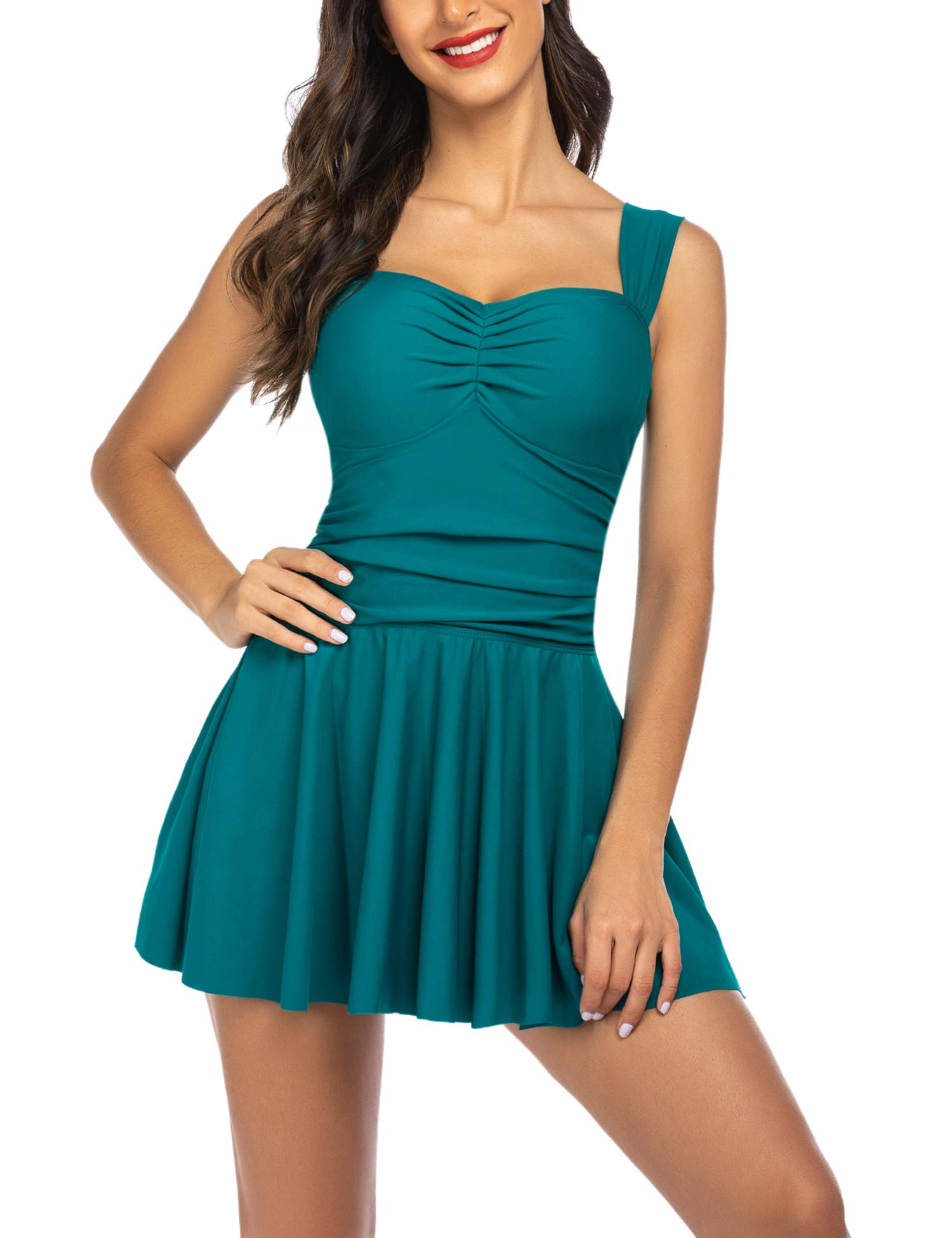 ADOME Swimdress for Women Ruched Swimsuit Tummy Control Swimwear Skirted Bathing Suit