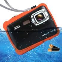 "ISHARE Kids Camera, 12MP 1080P Waterproof Digital Camera with 2"" LCD, 8X Digital Zoom, Flash and Mic for Kids Girls Boys(Black & 2×Batteries)…"