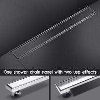 SaniteModar 36-inch Linear Shower Drain Comes with Tiled Stealth and 304 Stainless Steel Brushed Polished 2 and 1 Panels.Tile Insert Shower Drain is Equipped Adjustable Feet,Hair Filters…