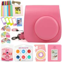 WOGOZAN 9-in-1 Accessories Kit for Fujifilm Instax Mini 9/8 Include Camera Case Flamingo Pink with Strap/Album/Selfie Lens/6 Colored Filters/5 Photo Table Frames/Wall Hanging Frames/Photo Stickers.