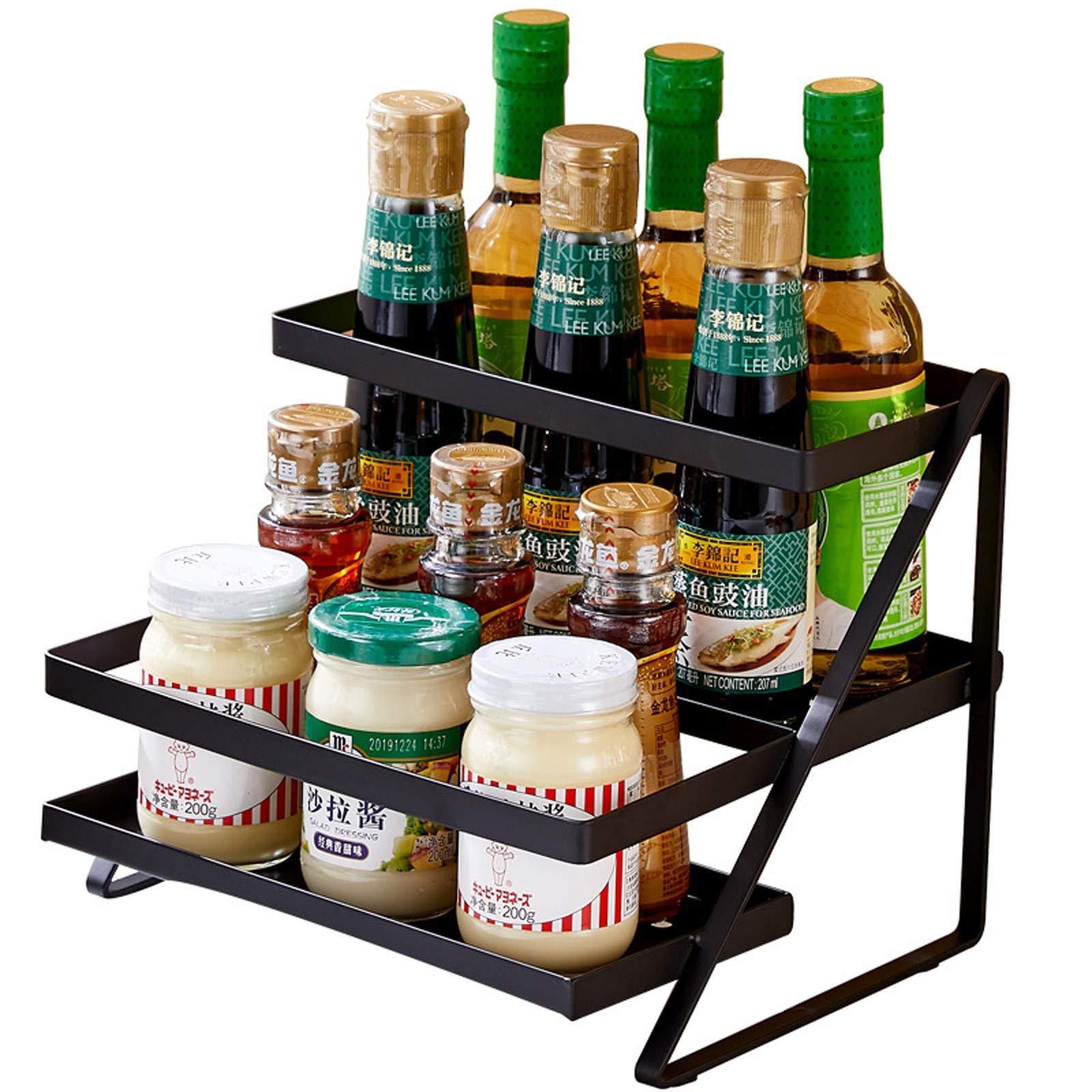 2-Tier Standing Spice Rack Storage Organizer Shelves Organizer Kitchen Counter Organizer Sturdy Kitchen Shelf Large Capacity Kitchen Storage Shelf Metal Spice Holder Shelf Storage Seasoning Rack