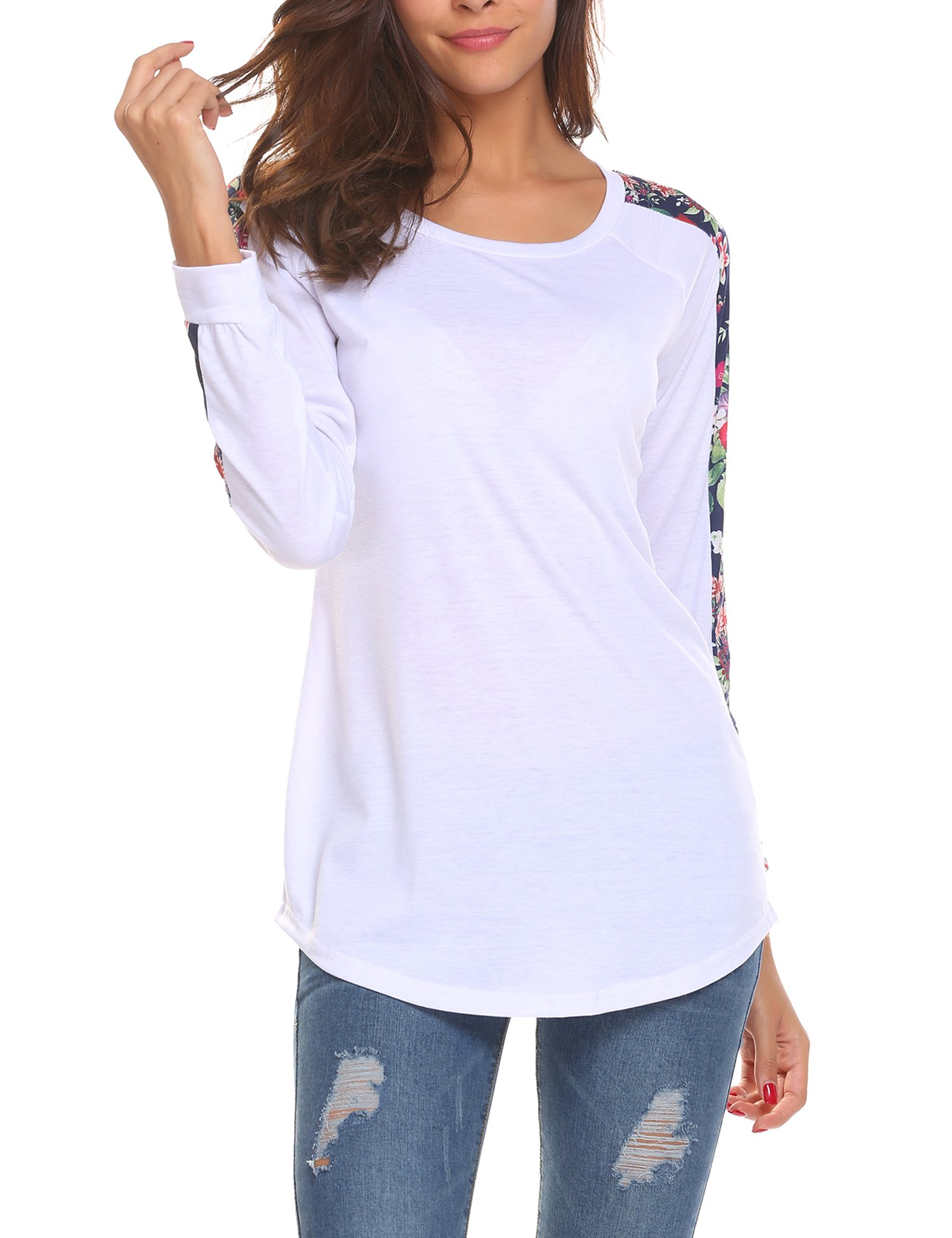 EASTHER Women's Casual Long Sleeve Color Block Floral Print Blouse Tops S-XL