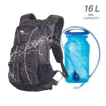 Hydration Hiking Backpack 16L Sport Water Lightweight Daypack with 2L Leak-Proof Bladder for Women Men, Multiple Storage & Security Features Prefect Outdoor Gear for Cycling, Climbing, Running