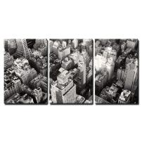 "wall26-3 Piece Canvas Wall Art - Black and White Urban Landscape of New York City - Modern Home Decor Stretched and Framed Ready to Hang - 24""x36""x3 Panels"