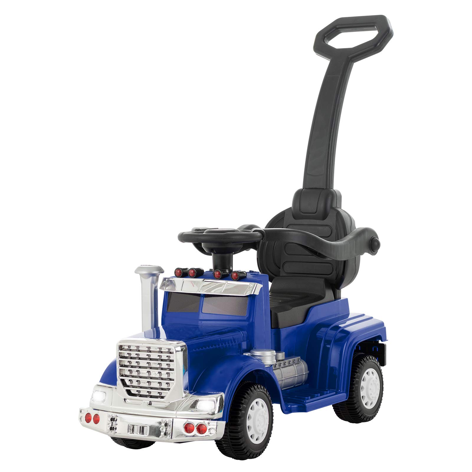 Uenjoy 6V Push Ride on Car 3 in 1 Convertible Baby Toddler Stroller, Battery Powered Kids Electric Vehicles, Parental Handle, Armrest Guardrails, LED Lights, Music, Horn, Blue