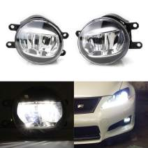 iJDMTOY LH RH OEM Spec Xenon White LED Fog Lights Compatible With Lexus or Toyota as Upgrade or Replacement, Powered by (2) Philips Luxeon LED Emitters