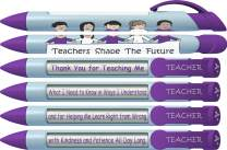 "Greeting Pen ""Teachers Shape the Future"" #1 Teacher Pens with Rotating Messages, 6 Pen Set (36402)"