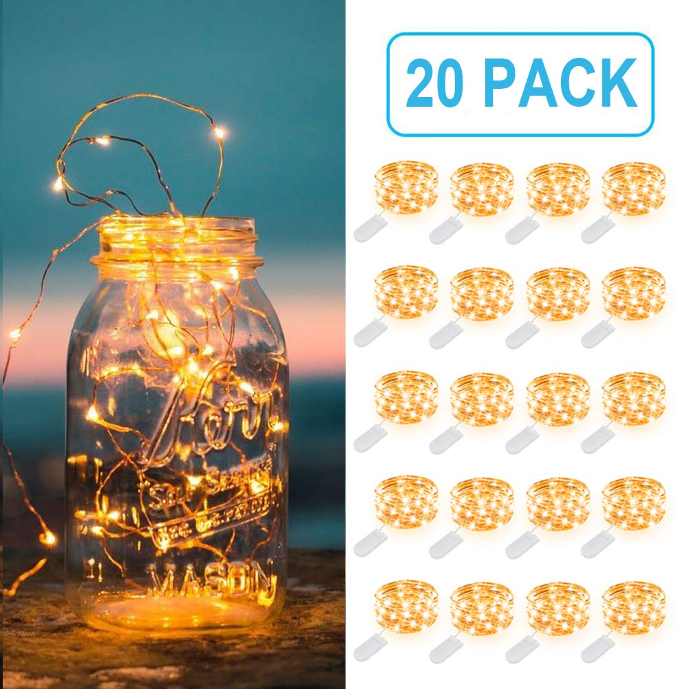 MUMUXI 20 Pack Fairy Lights Battery Operated, 3.3ft 20 LED Mini Waterproof Fairy String Lights Copper Wire Firefly Starry Lights for DIY Wedding Party Mason Jars Crafts Christmas Decoration,Warm White