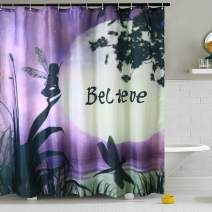 "Shower Curtain Liner Purple Dragonfly Fabric Water Resistant Bath Curtains with 12 Hooks for Bathroom Home Decorations (Style 2, 72"" W×72"" L)"