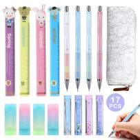 17 Pieces 0.9 mm Mechanical Pencil Set, 4 Pieces Mechanical Pencils, 4 Tubes of Pencil Lead Refills, 4 Pieces Erasers, 4 Cartoon Ruler with a Pencil Case for School and Office Drawing Crafting