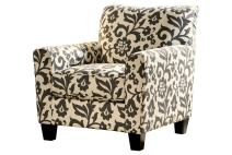 Signature Design by Ashley - Levon Contemporary Floral Print Accent Chair, Off White/Charcoal