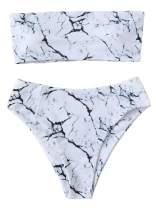 SweatyRocks Women's Sexy Bikini Set High Waist Wrap Padding Bandeau Bathing Swimwear Suit