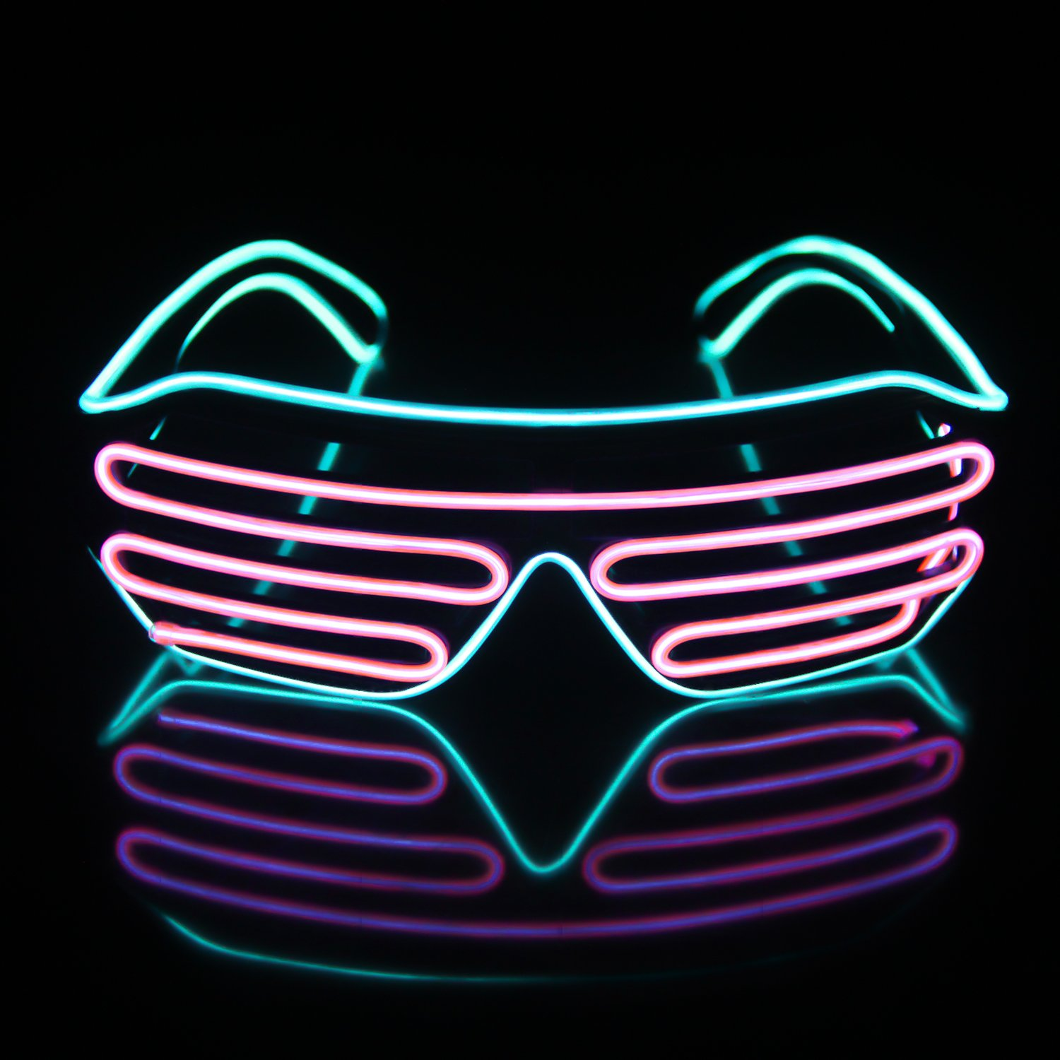 Light Up EL Wire Neon Shutter Glasses Flashing LED Rave Sunglasses for 80s, EDM, Parties Decorations(Transparent Blue+Pink)