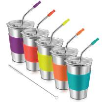 Kids Cups, Kereda Toddler Cups, Stainless Steel Cups 5 Pack 16 oz with Plastic Lids Silicone Sleeves and Straws, Leak Proof Eco-Friendly BPA-Free for Drinking, Multi Colors