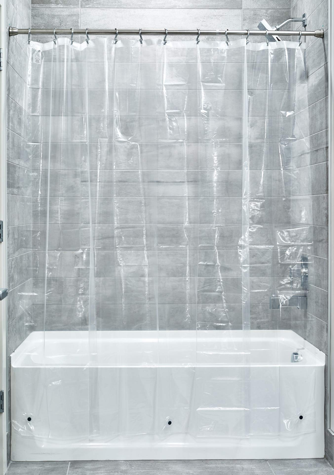 """iDesign Vinyl Stall-Sized Shower Liner, PVC-Free Mold- and Mildew-Resistant Curtain for Master, Guest, Kids' Bathroom, Bathtub, 54"""" x 78"""" - Clear"""