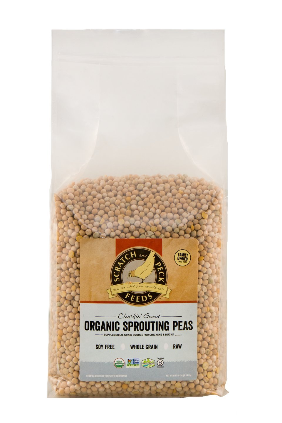 Scratch and Peck Feeds - Cluckin' Good Organic Sprouting Peas - Supplemental Grain Source - Soy Free, Whole Grain, Raw - 10-lbs