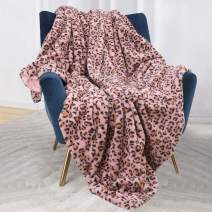 Bonzy Home Luxury Faux Fur Cheetah Throw Blanket, Super Soft Fuzzy Cozy Warm Fluffy Plush Hypoallergenic Reversible Blankets for Bed Couch Chair Fall Winter Spring Living Room (50 x 60) - Pink