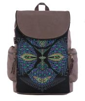 """Canvas Backpack Unisex Rucksack Bag with Psychedelic Print Fits Laptops 13-17"""""""