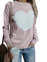 Elegantcharm Women's Pullover Sweaters Knitted Long Sleeve Crewneck Heart Patchwork Jumper Cozy Tops