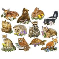 Bits and Pieces - Set of Twelve (12) Mini Shaped Jigsaw Puzzles - Forest Youngsters - 700 pc Baby Animals Puzzle Collection by Artist Jack Williams