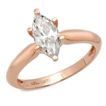 1.0 ct Brilliant Marquise Cut Solitaire Highest Quality Moissanite Ideal VVS1 D 6-Prong Engagement Wedding Bridal Promise Anniversary Ring in Solid Real 14k Rose Gold for Women