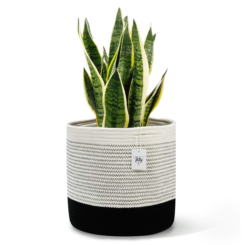 "POTEY 700302 Woven Cotton Rope Plant Basket for 11"" Large Flower Planter Indoor Pots, 12"" x 12"" Decorative Bakset for Plants Storage Basket Organizer Modern Home Decor, Black and White Mix Stripes"