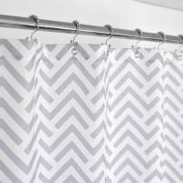 Mrs Awesome Fabric Shower Curtain with Geometric Pattern, Hotel Grade, Water Repellent, Washable, White and Gray, 72 x 72 inches