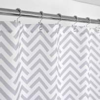 Mrs Awesome Fabric Shower Curtain with Geometric Pattern, 36 inch Size for Small Stall, Hotel Grade, Water Repellent, Washable and Odorless, White and Gray, 36 x 72 inches