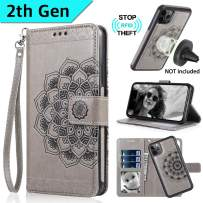 CASEOWL iPhone 11 Pro Max Case Wallet with Magnetic Detachable Slim Case Fit Car Mount,Card Holder,Kick Stand,RFID Protection,Strap,Mandala Embossed Leather Wallet Case for iPhone 11 Pro Max,Gray