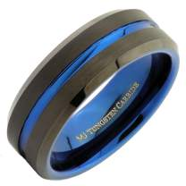MJ Metals Jewelry Tungsten Carbide 6mm or 8mm Band Blue Groove and Inside, Black Plated Ring