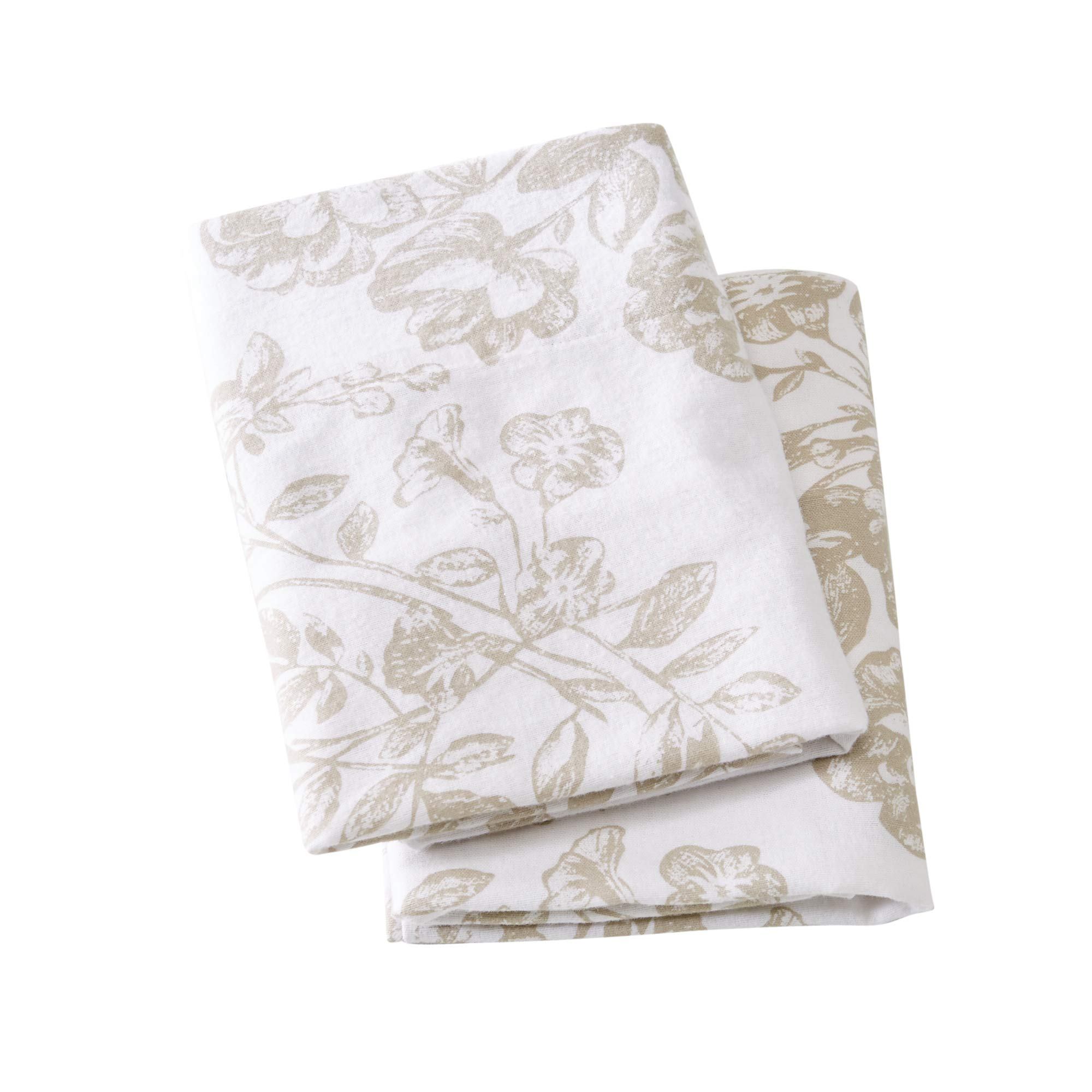 Great Bay Home Extra Soft Toile 100% Turkish Cotton Flannel Pillowcases. Warm, Cozy, Luxury Winter Pillowcases. Belle Collection (King, Taupe)
