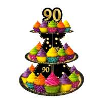 Happy 90th Birthday 3 Tier Cardboard Cupcake Stand/Tower Round Tiered Serving Platter Birthday Decorations Cheers To Fabulous 90 Birthday Party