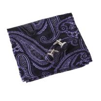 EEF1B07B Purple Thanksgiving Day Poly Pocket Square Woven Silk Paisley Handkerchief Cufflinks Set Perfect Gift By Epoint