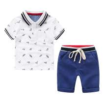 Toddler Kids Cool Outfits Summer Clothes Set Short Sleeved Polo Tee Short 2pcs Pants Set