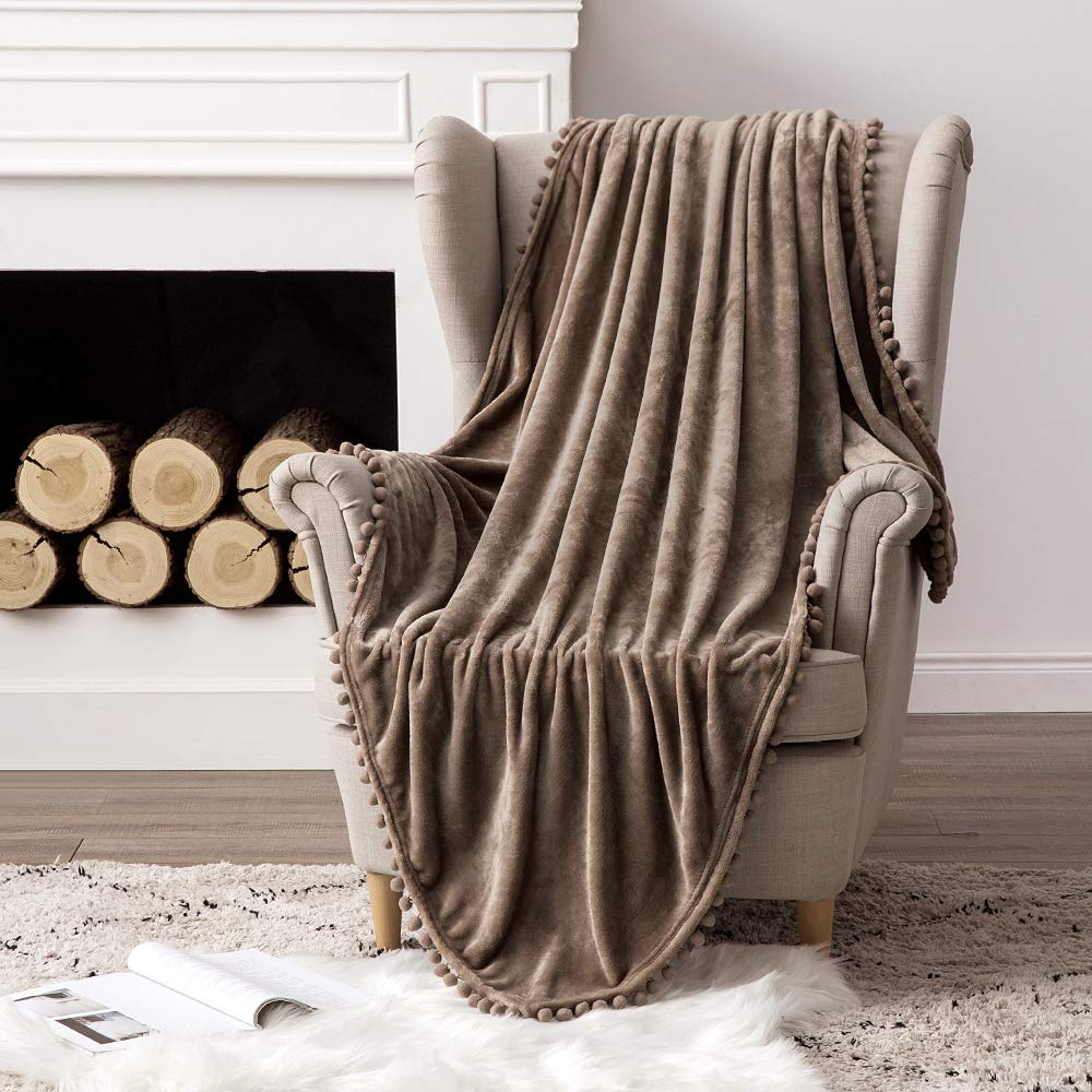MIULEE Ultra Soft Fleece Blanket Luxurious Fuzzy for Couch or Sofa Lightweight Fluffy Warm Bed Blanket with Cute Pompom Tassels - Super Cozy for Napping Sleeping Throw Size 50x60 inches Brown