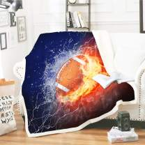 WONGS BEDDING Football Throw Blanket Sports Themed Throw Blanket Ice Brown Ball Flames Pattern Throw Blanket Dark Blue Orange Throw Blanket Soft Fuzzy Plush Sherpa Throw Blanket 60 by 80 inch