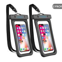 """GLBSUNION Waterproof Phone Pouch Floating, IPX8 Universal Waterproof Case Underwater Dry Bag Compatible iPhone 11 Pro Xs Max Xr X 8 7 Plus Galaxy s10 Note 9/8 Google Pixel up to 6.9"""" (Black)"""