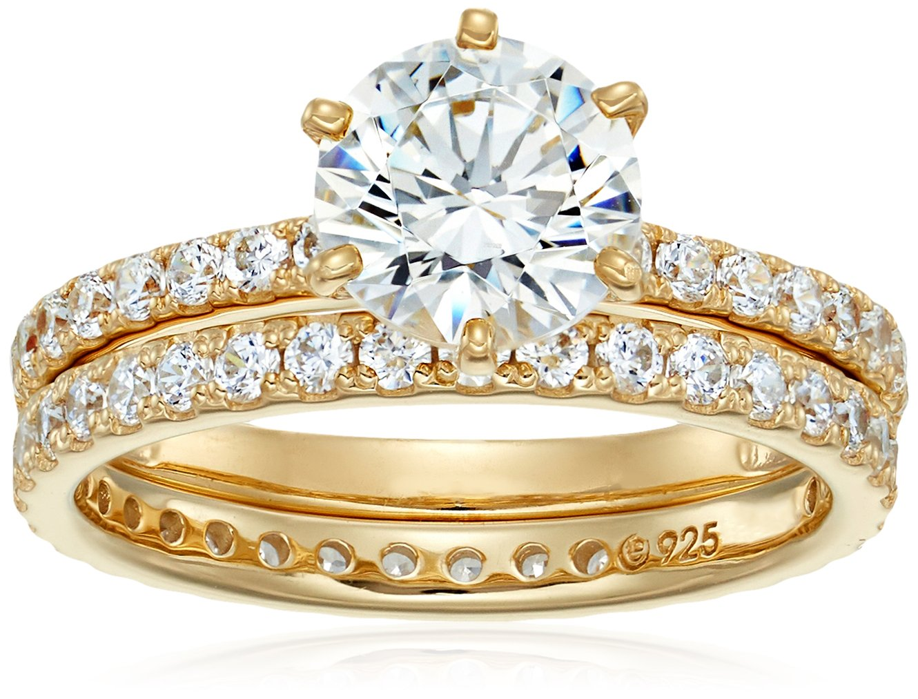 Platinum or Gold Plated Sterling Silver Round Ring Set made with Swarovski Zirconia