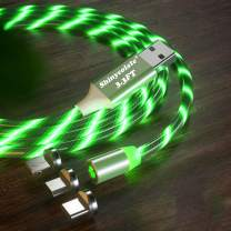 3.3ft Magnetic Charger Green Cable, Led Flowing Shining Light UP 3 in 1 Multi Universal for Kids Christmas Halloween Party Decorations Gift Cable Compatible Micro USB Type C iProduct Android Devices