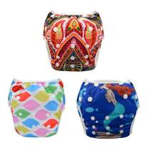 ALVABABY Swim Diapers 3pcs One Size Reuseable Washable Adjustable for Swimming Lesson Baby Shower Gifts 3SW27