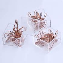 Acrylic 3 Tier Stackable Paper Clips Holder with 36 Pcs Assorted Size Rose Gold Clips - Draymond Story Stationery Series