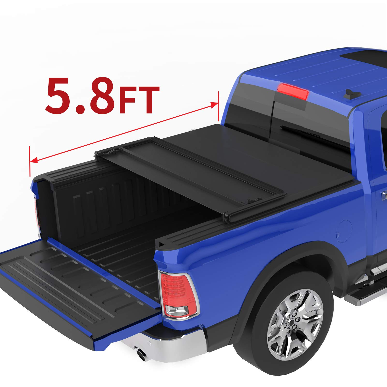 Oedro Tri Fold Truck Bed Tonneau Cover Compatible With 2009 2020 Dodge Ram 1500 Without Ram Box Fleetside 5 8 Feet Bed
