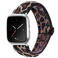 MEFEO Elastic Bands Compatible with Fitbit Versa 2/ Fitbit Versa/Versa Lite, for Women Girls Soft Stretch Strap Wristband Bracelet Compatible for Fitbit Versa/Versa 2/Versa Lite/SE(Leopard)