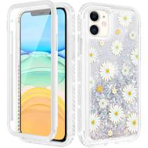Caka Glitter Case for iPhone 11 Glitter Flower Case with Built in Screen Protector Rhinestone Moving Quicksand Floral Case for Girls Women Girly Protective Case for iPhone 11 6.1 inches (Daisy)