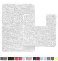 Gorilla Grip Original Shaggy Chenille 2 Piece Area Rug Set, Includes Square U-Shape Contoured Toilet Mat & 30x20 Bathroom Rugs, Machine Wash/Dry Mats, Soft, Plush Rugs for Shower & Bath Room, White