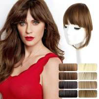 Clip in Bangs Long Fringe Front Neat Air Curved Bangs for Women Synthetic Natural Looking Bangs Hair Clip on Fringe Bangs Hair Pieces with Long Straight Temples
