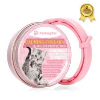 PettingPal Calming Collar for Cats, Anxiety Relief Natural Calm Treats Kitten Collar - Up to 15 inches Adjustable fits Cats, Pheromones Quick Release, Lasting Effect, Soft and Comfortable, Pink
